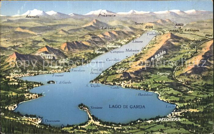 karte vom gardasee Riva del Garda Karte vom Gardasee Kat. Nr. dp84882   oldthing