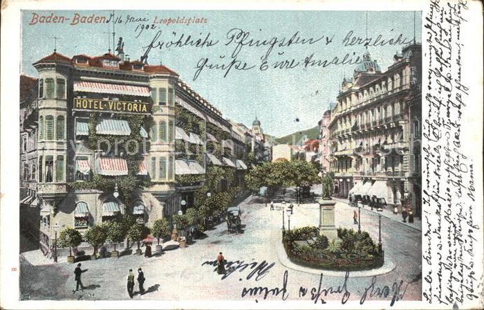 Baden Baden Leopoldsplatz Denkmal Hotel Victoria Kat. Baden Baden