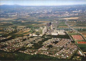 Mainz Rhein Fliegeraufnahme Stadtteil Lerchenberg mit ZDF Gebaeuden