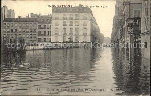 Paris Inondations Place de Bourgogne La crue de la Seine Hochwasser Katastrophe Kat. Paris
