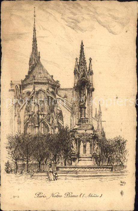 Paris Eglise Notre Dame Dessin Kuenstlerkarte Kat Paris Nr Dp84072