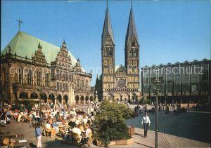 Bremen Marktplatz Rathaus Dom und Parlamentsgebaeude Kat. Bremen