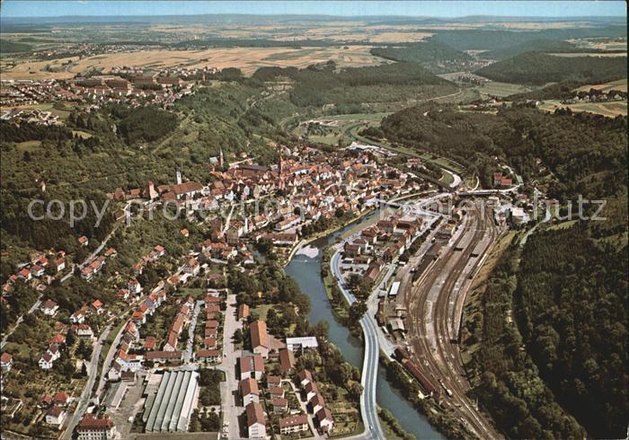 Horb Neckar Fliegeraufnahme mit Neckar Kat. Horb am Neckar
