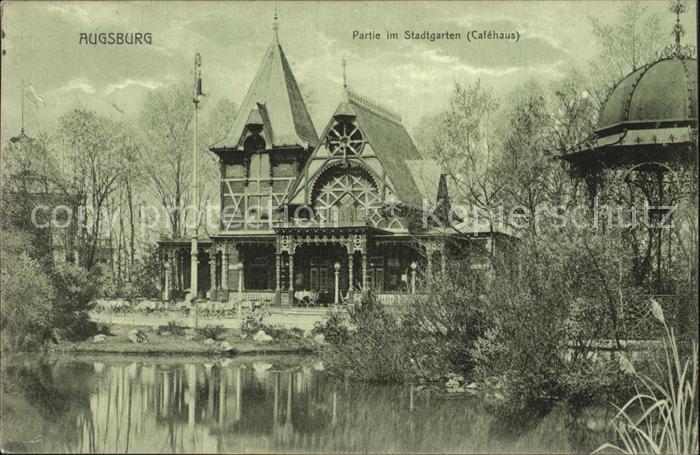 Augsburg Stadtgarten Cafehaus Teich Kat. Augsburg