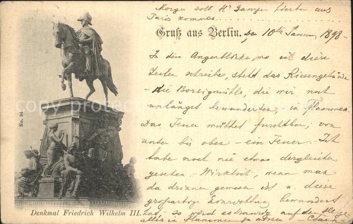 Berlin Denkmal Friedrich Wilhelm III Kat. Berlin