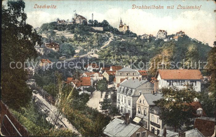 Loschwitz Drahtseilbahn mit Louisenhof Kat. Dresden
