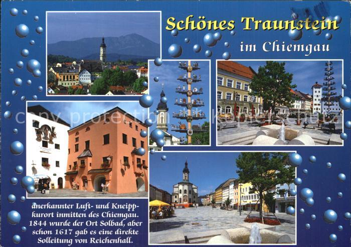 Traunstein Oberbayern Gesamtansicht Kirche Brunnen Platz Kat. Traunstein
