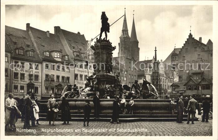 Nuernberg Neptunbrunnen am Hauptmarkt Sebalduskirche Kat. Nuernberg