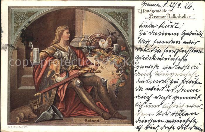 Bremen Roland Wandgemaelde im Ratskeller Kat. Bremen