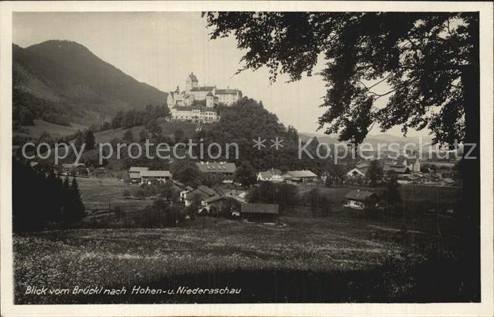 Aschau Chiemgau Schloss Hohenaschau Blick vom Brueckl Kat. Aschau i.Chiemgau