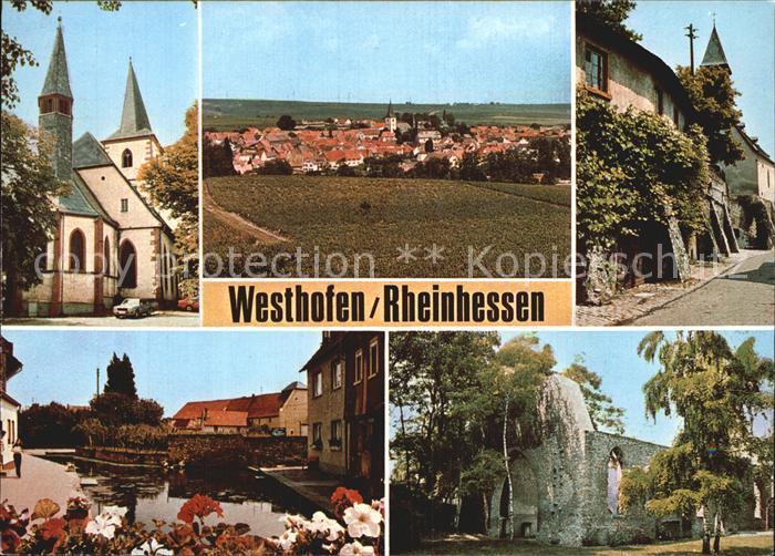 Westhofen Rheinhessen Kirche Ruine Stadtmauer Kat. Westhofen