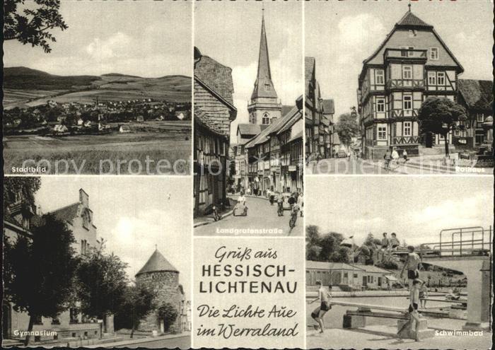 Hessisch Lichtenau Landgrafenstrasse Rathaus Gymnasium  Kat. Hessisch Lichtenau