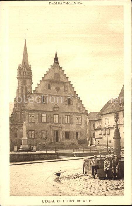 Dambach la Ville Eglise Hotel de Ville Fontaine Kat. Dambach la Ville