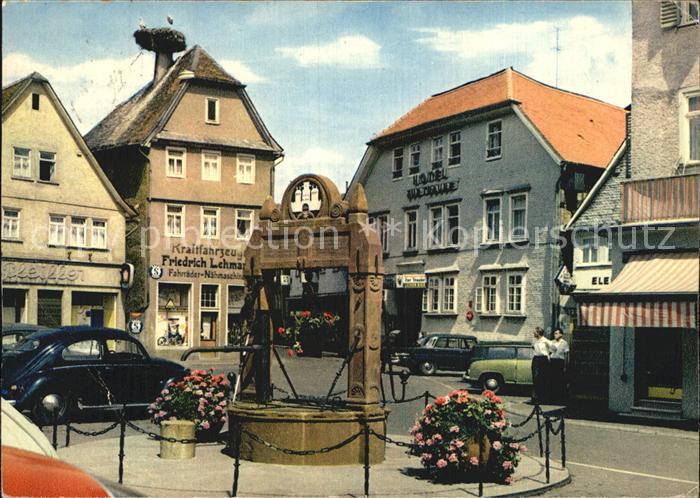 Nidda Marktplatz mit Storchennest und historischen Brunnens Kat. Nidda