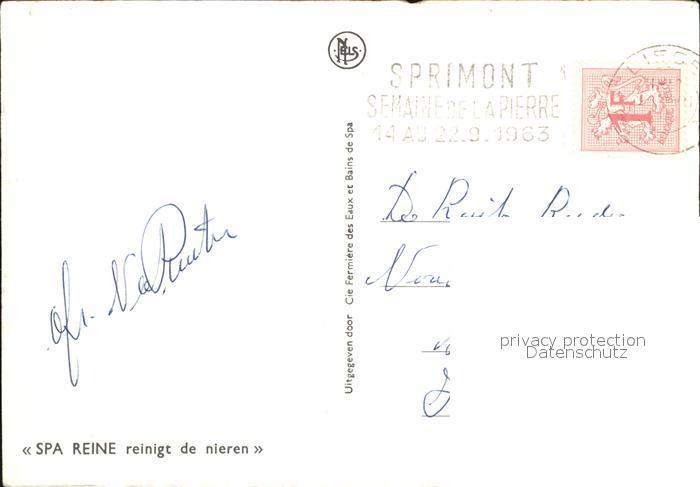 Spa Liege Monopole 1963Reine Kuenstlerkarte  Kat.  1