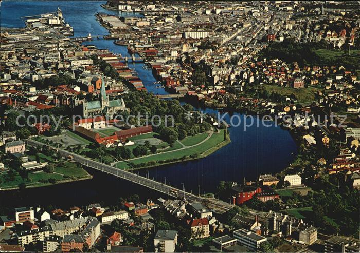Trondheim Parti fra byen med Domkirken Nidelven Fliegeraufnahme Kat. Trondheim