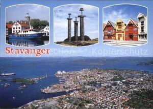 Stavanger Boot Denkmal Haeuserpartie Fliegeraufnahme Kat. Stavanger