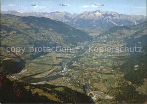 Obermutten Panorama Blick von der Muttner Hoehe ins Domleschg Kat. Obermutten
