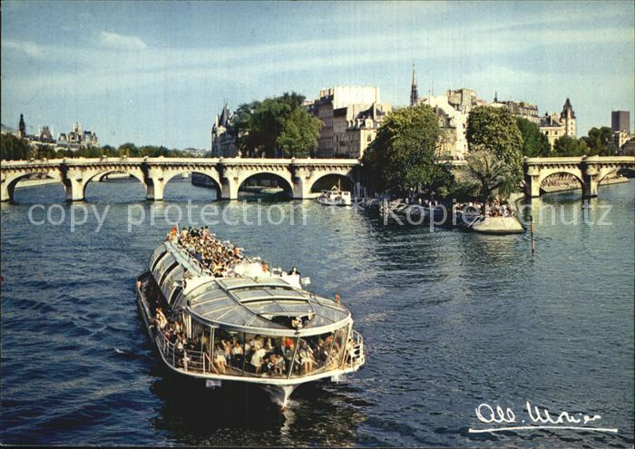 Paris La Pointe du Vert Galant Pont Neuf Bateau Kat. Paris