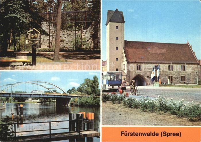 Fuerstenwalde Spree Heimattiergarten Thaelmann Pioniere Bruecke Rathaus Kat. Fuerstenwalde