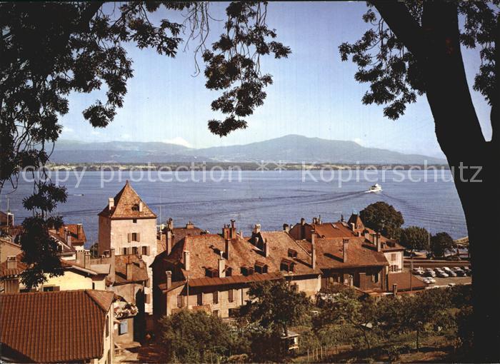 Nyon VD Vue de la terrasse du Chateau Lac Leman Genfersee Kat. Nyon