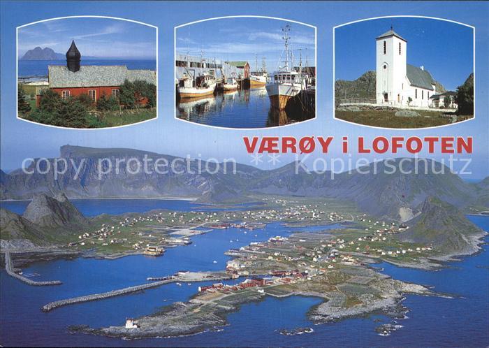 Vaeroy Lofoten Sorvaeroy sett fra fly Gamle kirke Parti fra havna i Sorlandsvagen Nye kirke