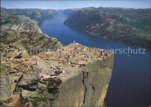 Lysefjord Stavanger The rock Prekestolen Fliegeraufnahme
