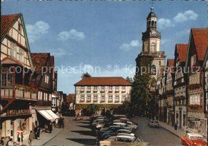 Rinteln Weser Marktplatz mit Kirche Kat. Rinteln
