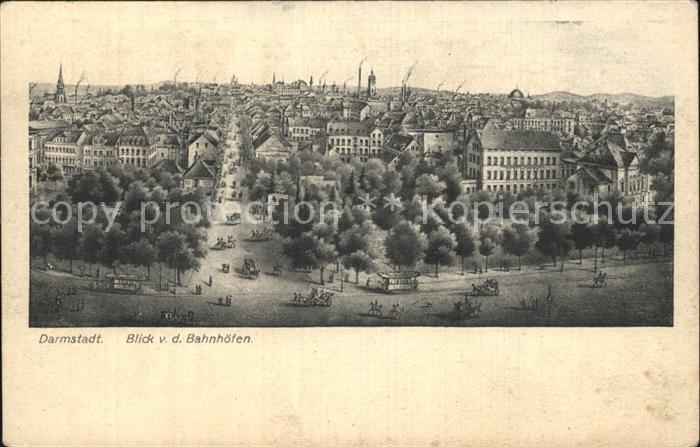 Darmstadt Blick von den Bahnhoefen Kat. Darmstadt