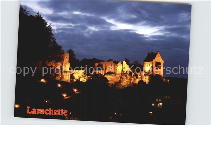 Larochette Luxembourg Chateau la nuit Schloss Kat. Luxemburg