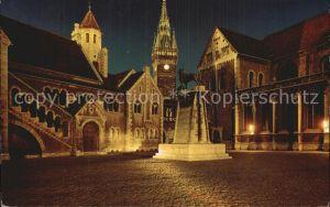 Braunschweig Dom Burg und Rathaus bei Nacht Kat. Braunschweig