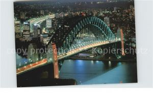 Sydney New South Wales Harbour Bridge at night aerial view Kat. Sydney