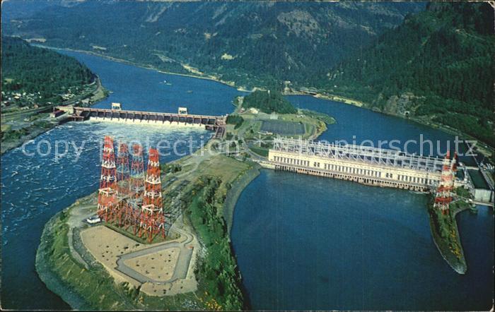 Hood River Bonneville Dam over the Columbia River aerial view Kat. Hood River