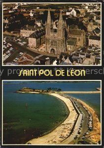 Saint Pol de Leon Cathedrale Plage Sainte Anne vue aerienne Collection Couleurs de Bretagne Kat. Saint Pol de Leon
