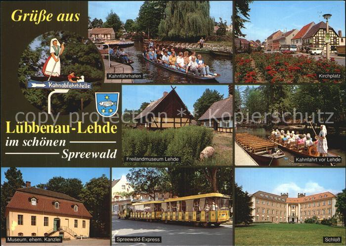 Lehde Kahnfaerhafen Kirchplatz Schloss Museum Kat. Luebbenau Spreewald
