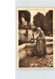Digne les Bains Frau am Brunnen Kat. Digne les Bains
