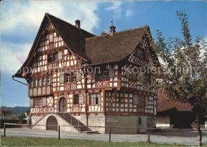 Oberaach Thurgauer Riegelhaus Restaurant Goldener Loewen Fachwerkhaus Kat. Oberaach