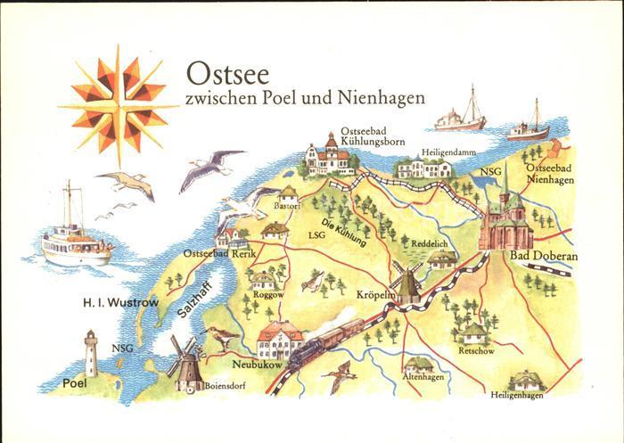 Poel Insel Ostsee zwischen Poel und Nienhagen Landkarte Kat. Insel Poel