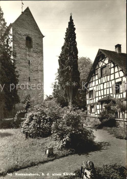 Romanshorn Bodensee Partie bei der alten Kirche Fachwerkhaus