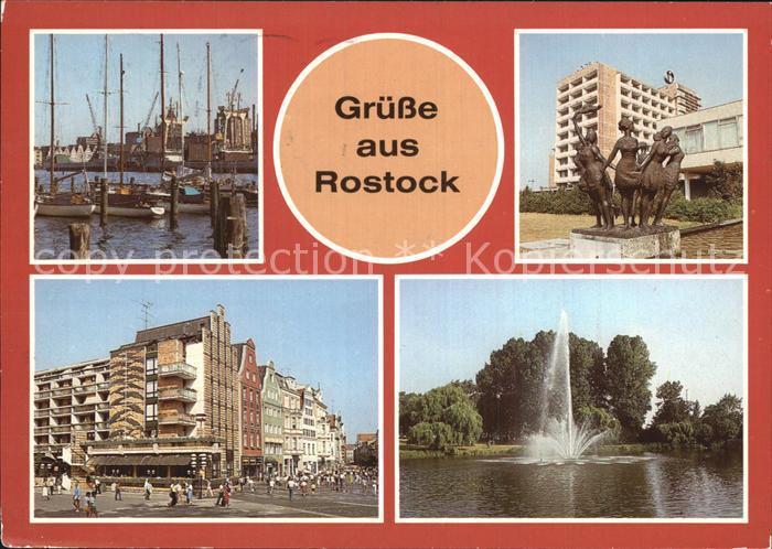 Rostock Mecklenburg Vorpommern Hafen Gehlsdorf Warnow Interhotel Warnow Breite  und Kroepelinerstrasse Kat. Rostock