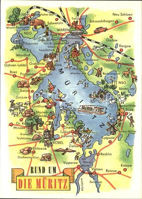 müritzsee karte Waren Mueritz Mueritz See Landkarte Kat. Waren Mueritz Nr. kv40109