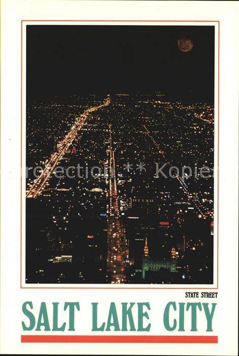 Salt Lake City Fliegeraufnahme State Street at night Kat. Salt Lake City