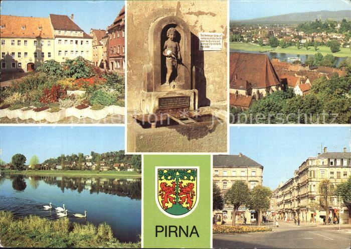 Pirna Markt Erlenpeterbrunnen Panorama OT Copitz Karl Marx Strasse Kat. Pirna