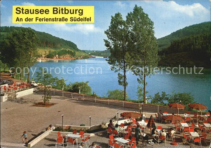 Biersdorf See Stausee Bitburg am Erzberg Ferienstrasse Suedeifel Terrasse Restaurant Kat. Biersdorf am See