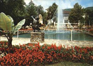 Bad Muenster Stein Ebernburg Kurpark mit Kurhaus Skulptur Kat. Bad Muenster am Stein Ebernburg