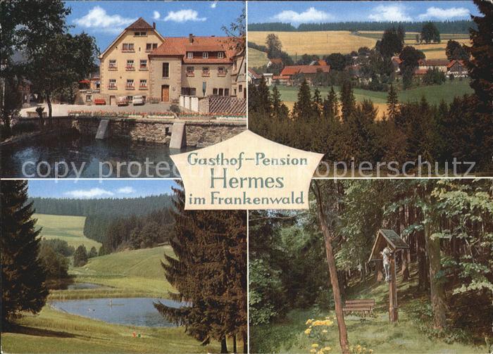 Hermes Marktleugast Landgut Hermes Pension Haueis im Frankenwald See Waldpartie Wegekreuz Kat. Marktleugast