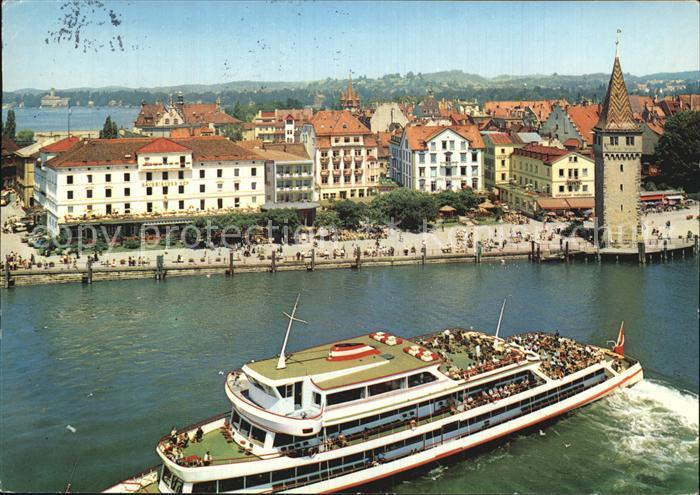 Lindau Bodensee Blick vom Leuchtturm auf den Hafen Turm Dampfer Kat. Lindau (Bodensee)