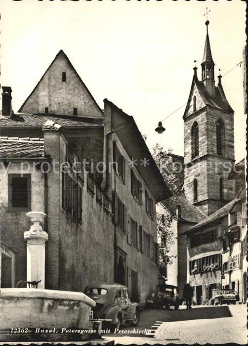 Basel BS Petersgasse mit Peterskirche Kat. Basel