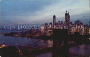 New York City Nightfall Brooklyn Bridge