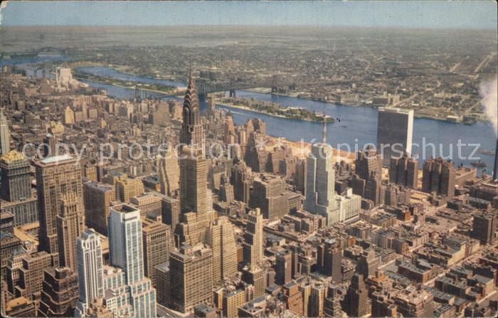 New York City as seen from the Empire State Building Chrysler Building United Nations Building East River